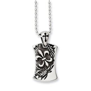 Versil Stainless Steel Antiqued Fleur-De-Lis Dog Tag Necklace