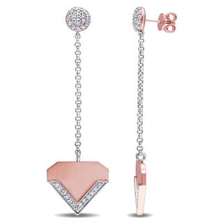 V1969 ITALIA White Sapphire Insignia Drop Chain Earrings in 18k Rose Gold Plated Sterling Silver