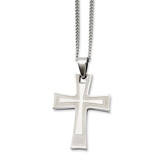 Versil Stainless Steel Cross Pendant 24-inch Necklace
