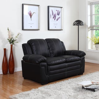 Classic Bonded Leather Living Room Love Seat with White Stitch Accent