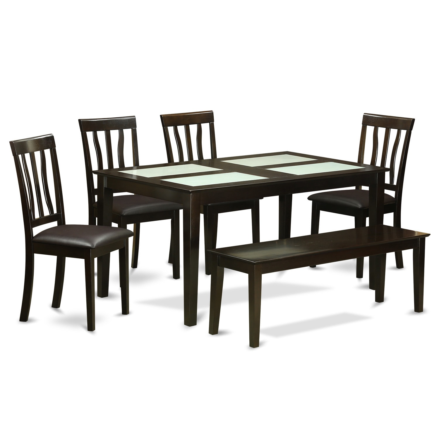Cappucino 6-piece Dining Room Set with Glass Top Dining T...
