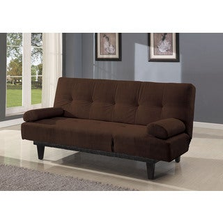 Cybil Brown Faux Leather, Foam, Wood Adjustable Sofa