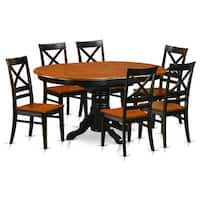 Avon Black/Cherry Buttermilk/Cherry Finish Solid Rubberwood 7-piece Dining Set with Oval Table and Six Chairs