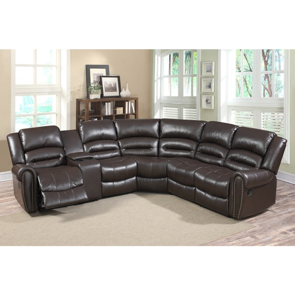Connie brown faux leather 6 piece reclining sectional for 6 piece living room set