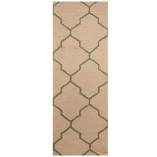 Herat Oriental Indo Hand-tufted Beige/ Light Green Trellis Wool Runner (2'6 x 7')
