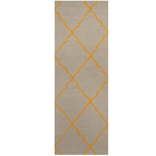 Herat Oriental Indo Hand-tufted Light Blue/ Gold Trellis Wool Runner (2'6 x 7')