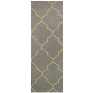 Herat Oriental Indo Hand-tufted Light Blue/ Beige Trellis Wool Runner (2'6 x 7')