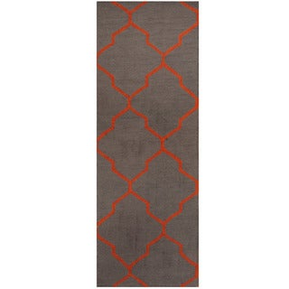Herat Oriental Indo Hand-tufted Light Blue/ Orange Trellis Wool Runner (2'6 x 7')