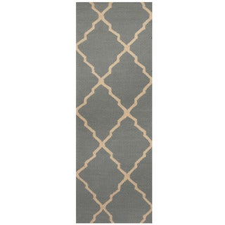 Herat Oriental Indo Hand-tufted Light Blue/ Ivory Trellis Wool Runner (2'6 x 7')