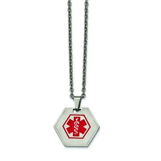 Versil Stainless Steel Hexagon Shaped Medical Pendant 20-inch Necklace