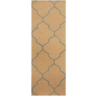 Herat Oriental Indo Hand-tufted Khaki/ Light Blue Trellis Wool Runner (2'6 x 7')