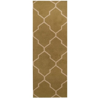 Herat Oriental Indo Hand-tufted Light Green/ Beige Trellis Wool Runner (2'6 x 7')