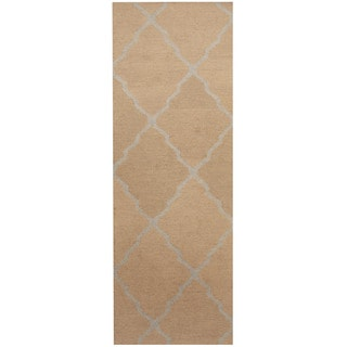 Herat Oriental Indo Hand-tufted Beige/ Light Blue Trellis Wool Runner (2'6 x 7')