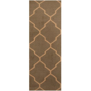 Herat Oriental Indo Hand-tufted Light Brown/ Beige Trellis Wool Runner (2'6 x 7')