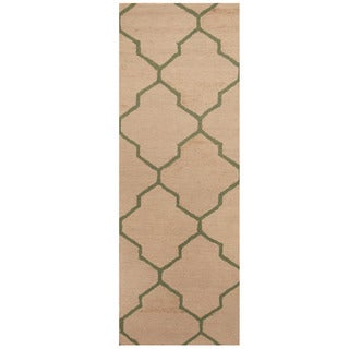 Herat Oriental Indo Hand-tufted Ivory/ Light Green Trellis Wool Runner (2'6 x 7')