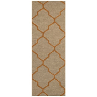 Herat Oriental Indo Hand-tufted Gray/ Orange Trellis Wool Runner (2'6 x 7')