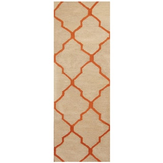 Herat Oriental Indo Hand-tufted Ivory/ Orange Trellis Wool Runner (2'6 x 7')