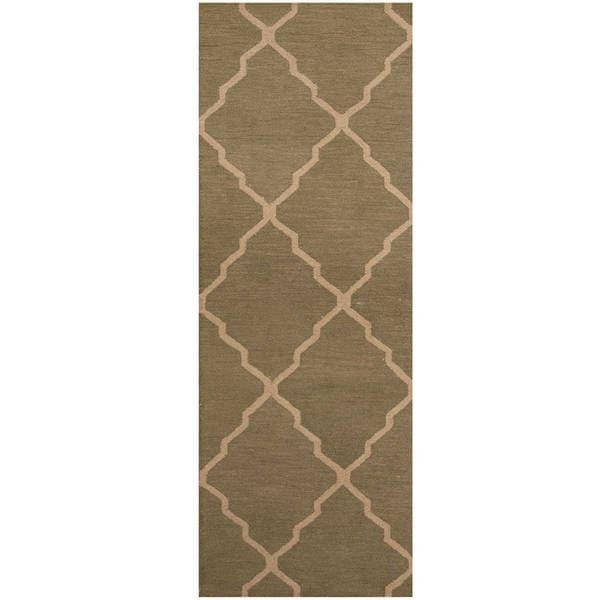 Herat Oriental Indo Hand-tufted Trellis Wool Runner - 2'6 x 7'