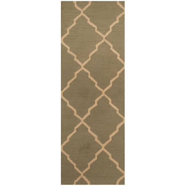 Herat Oriental Indo Hand-tufted Trellis Wool Runner (2'6 x 7') - 2'6 x 7'