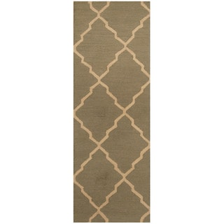 Herat Oriental Indo Hand-tufted Light Green/ Ivory Trellis Wool Runner (2'6 x 7')