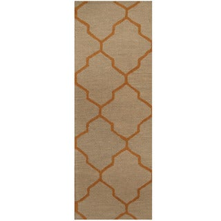 Herat Oriental Indo Hand-tufted Light Green/ Gold Trellis Wool Runner (2'6 x 7')