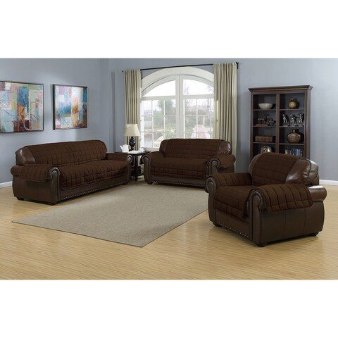 Quick Fit Jeremy Collection Sherpa Quilted Reversible Loveseat Protector