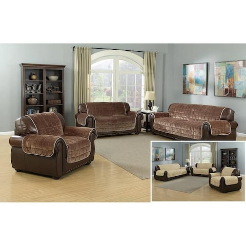 Quick Fit Joseph Collection Flannel Quilted Reversible Loveseat Furniture Protector