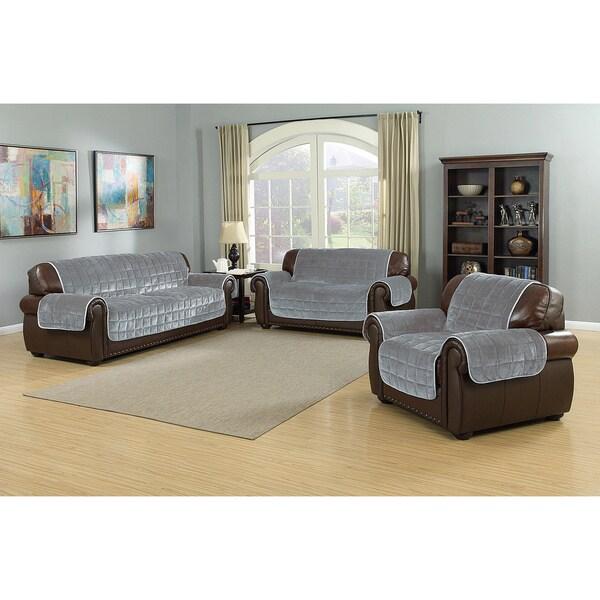 Quick Fit Flannel Microfiber Reversible Waterproof Sofa Slipcover