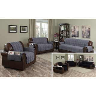 Quick Fit Chenille Microfiber Reversible Waterproof Loveseat Slipcover