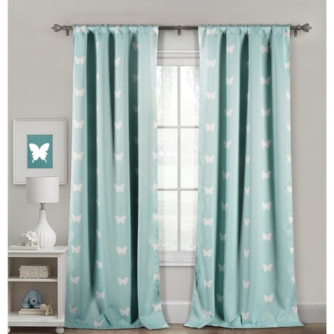 Lala Bash Wink Butterfly Printed Blackout Curtain Panel Pair