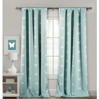 "Lala Bash Wink Butterfly Printed Blackout Curtain Panel Pair - 39x84"" /2pcs"