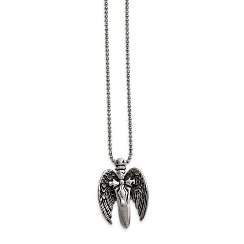 Chisel Stainless Steel Winged Sword Necklace