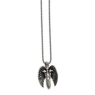Versil Stainless Steel Winged Sword Necklace