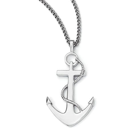 Chisel White Stainless Steel 18-inch Polished Anchor Mariner Cross Necklace
