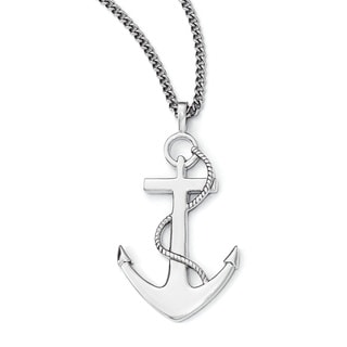 Versil Chisel White Stainless Steel 18-inch Polished Anchor Mariner Cross Necklace