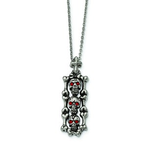 Versil Stainless Steel Red Crystal Antiqued Skull Necklace