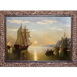 William Bradford 'A Sunset Calm in the Bay of Fundy' Hand Painted Framed Canvas Art