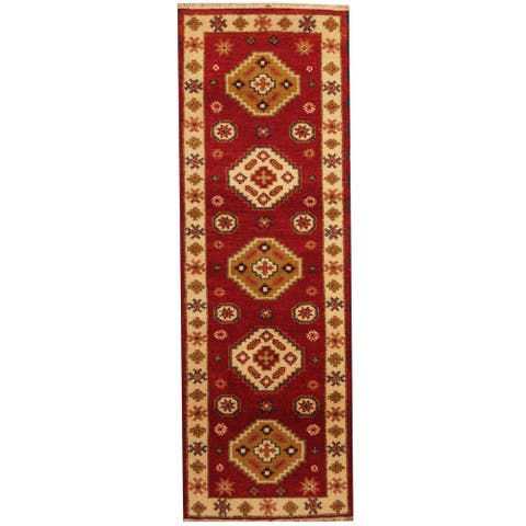 Handmade One-of-a-Kind Kazak Wool Runner (India) - 2'2 x 6'6