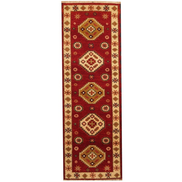 Herat Oriental Indo Hand-knotted Tribal Kazak Wool Runner (2'2 x 6'6)