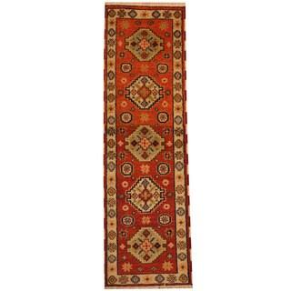 Herat Oriental Indo Hand-knotted Tribal Kazak Rust/ Ivory Wool Runner (2'2 x 6'9)