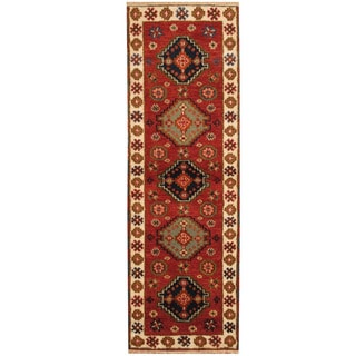 Herat Oriental Indo Hand-knotted Tribal Kazak Red/ Ivory Wool Runner (2'2 x 6'7)