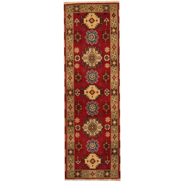 Handmade Herat Oriental Indo Tribal Kazak Wool Runner - 2' x 6'7 (India)