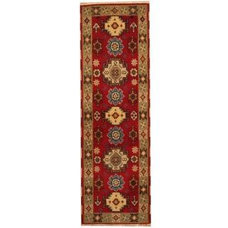 Herat Oriental Indo Hand-knotted Tribal Kazak Red/ Gray Wool Runner (2' x 6'7)