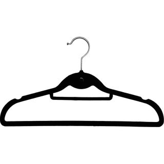 International Innovations Black Velvet Cascading Slim-line Hanger with Notches and Tie Bar