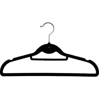 Black Stackable Slimline Hanger, Cascading Ultra Thin Velvet Suit Hangers with Chrome Swivel Hook