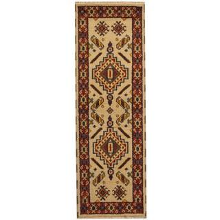 Herat Oriental Indo Hand-knotted Tribal Kazak Ivory/ Rust Wool Runner (2'2 x 6'6)