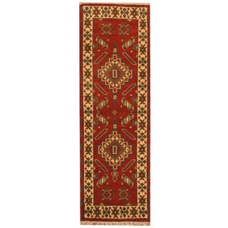 Herat Oriental Indo Hand-knotted Tribal Kazak Rust/ Ivory Wool Runner (2'1 x 6'6)