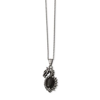 Versil Chisel White Stainless Steel Antiqued Polished Black Glass 20-inch Dragon Necklace