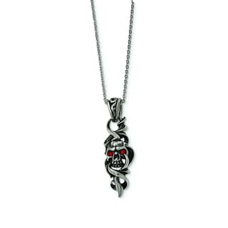 Versil Stainless Steel Antiqued and Polished Crystal Skull 22-inch Necklace