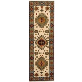 Herat Oriental Indo Hand-knotted Tribal Kazak Ivory/ Gray Wool Runner (2'2 x 6'10)
